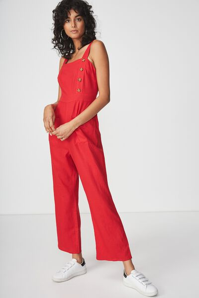 Woven Strappy Fran Flare Leg Jumpsuit, TANGO RED