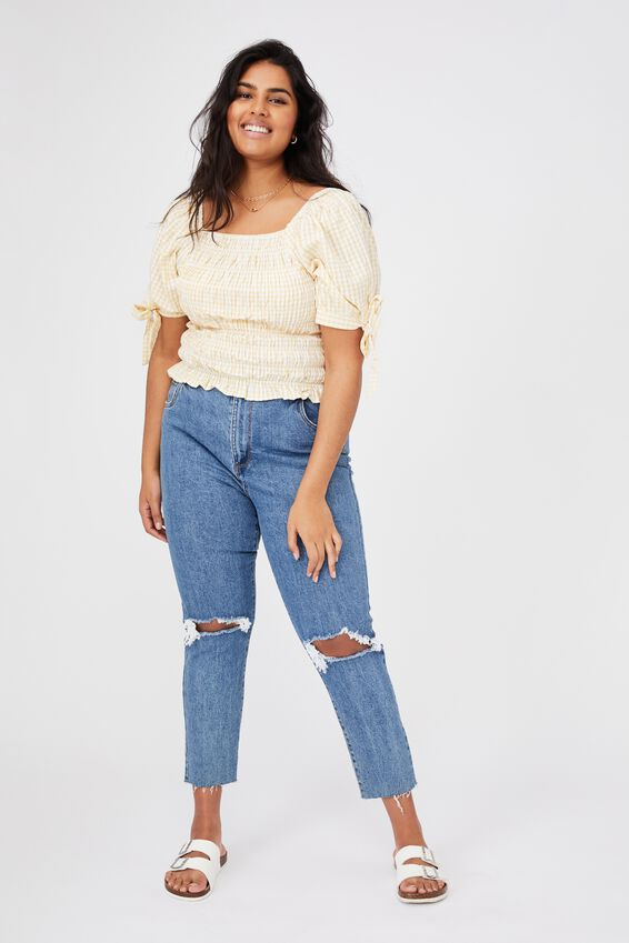 Curve Bella Shirred Square Neck Blouse, BETHANY GINGHAM CALI YELLOW