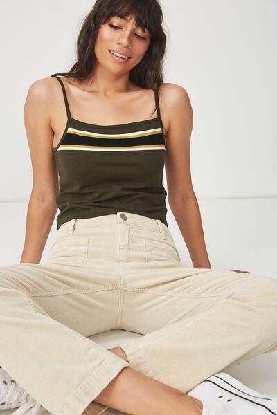 Fashion Crop Cami, MEL BLOCK STRIPE UTILITY KHAKI/BLACK