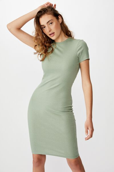 Essential Short Sleeve Bodycon Midi Dress, GREENBAY RIB