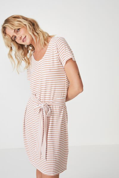 Bella Tie Front T-Shirt Dress, PRALINE/WHITE PIN STRIPE