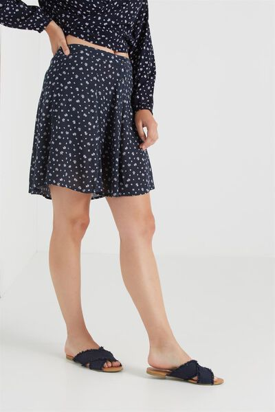 Wv Sally Flippy Skirt, THAI DITSY DARK NAVY