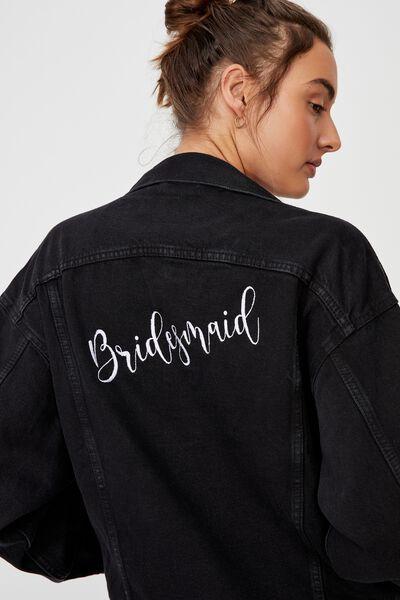 The Oversized Denim Jacket Embroid Personalisation, MIDNIGHT BLACK