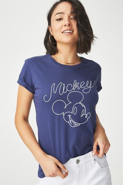 Tbar Fox Graphic T Shirt, LCN MICKEY LINE/INDIGO