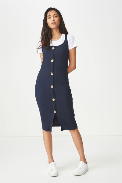 Lola Ribbed Button Through Midi Dress, NAVY