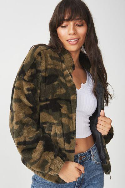 Batwing Faux Fur Jacket, CAMO