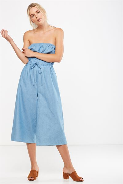 Woven Betty Bandeau Jumpsuit, CHAMBRAY