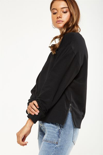 Cara Lightweight Pullover, BLACK