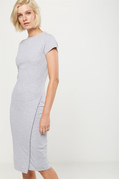 Anthea Short Sleeve Midi Dress, GREY MARLE RIB