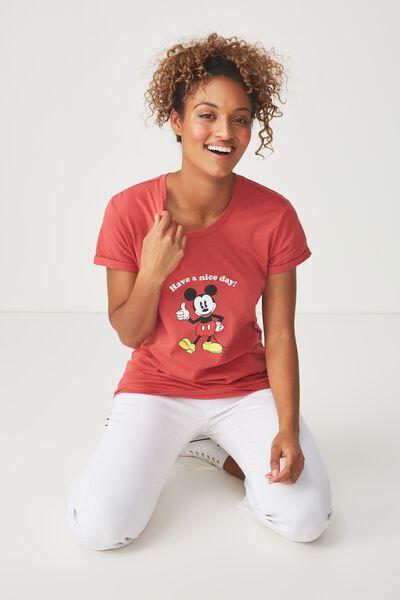 Tbar Fox Graphic T Shirt, LCN MICKEY CHEEKY/GARNET ROSE