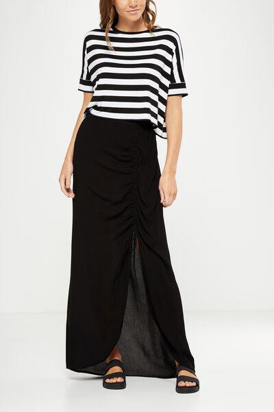Woven Elora Rouched Maxi Skirt, BLACK