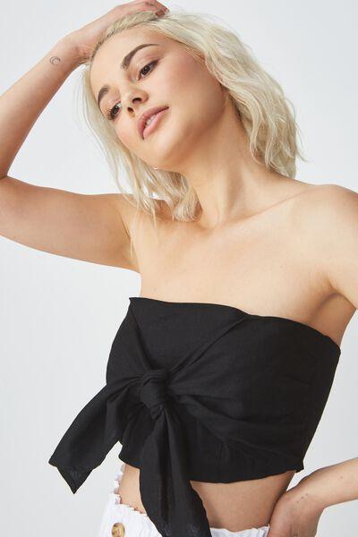 Tania Tie Front Bandeau Top, BLACK