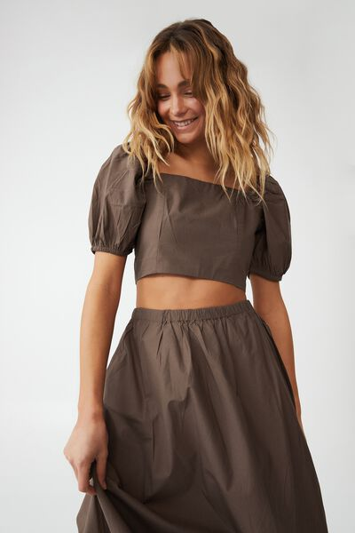 Woven Petite Lauren Maxi Skirt, ACORN
