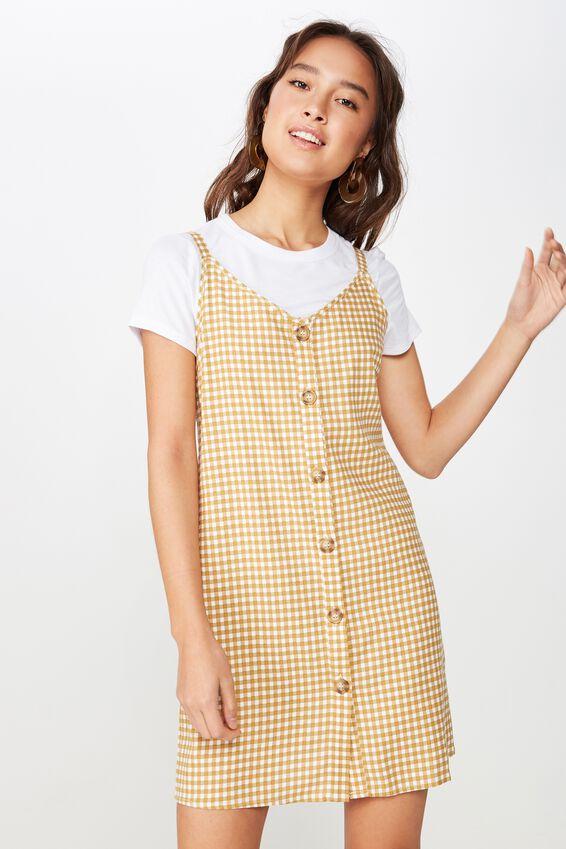 Woven Margot Slip Dress, BUTTON THROUGH ABBY GINGHAM TAFFY/WHITE