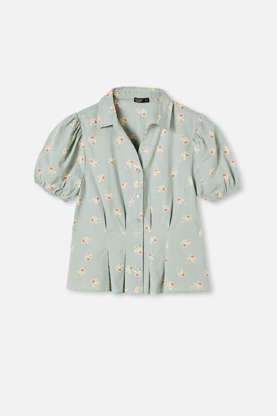 Lila Puff Sleeve Shirt, ARABELLA FLORAL LUSH GREEN MINI