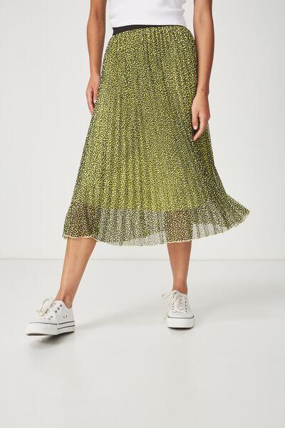 Woven Daria Pleated Midi Skirt, MOLLY NEON LEOPARD