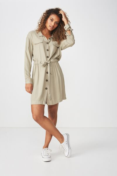 Woven Elle Long Sleeved Shirt Dress, SILVER SAGE