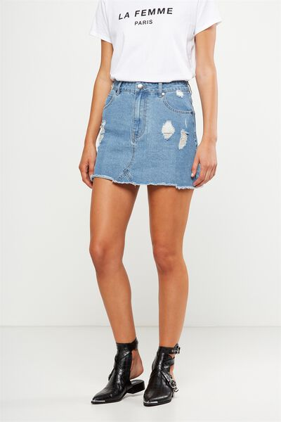 The Re-Made Mini Denim Skirt, VINTAGE BLUE RIPS