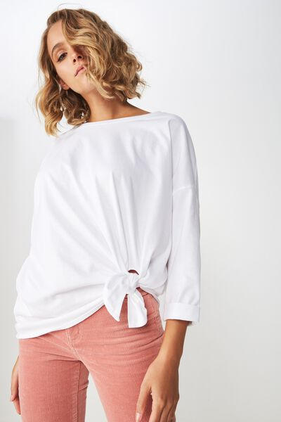 Aimee Oversized Long Sleeve Top, WHITE