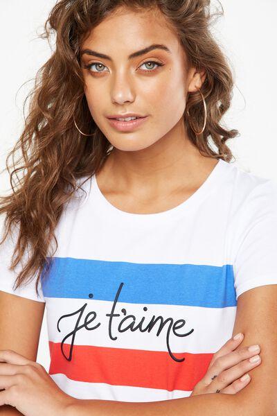 Tbar Hero Graphic T Shirt, JE T'AIME/WHITE