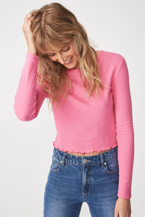 Shelly Crop Babylock Long Sleeve, POWER PINK