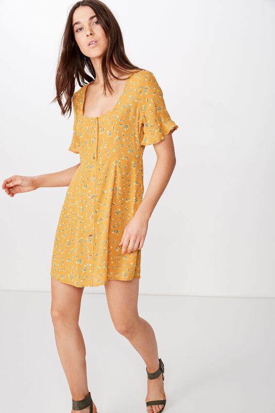 Woven Stacey Short Sleeve Tea Dress, VICTORIA FLORAL INCA GOLD