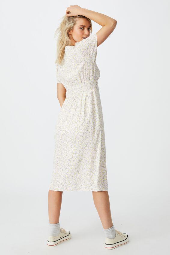 Woven Imogen Ruched Midi Dress, ROBYN DITSY MULTI WHITE
