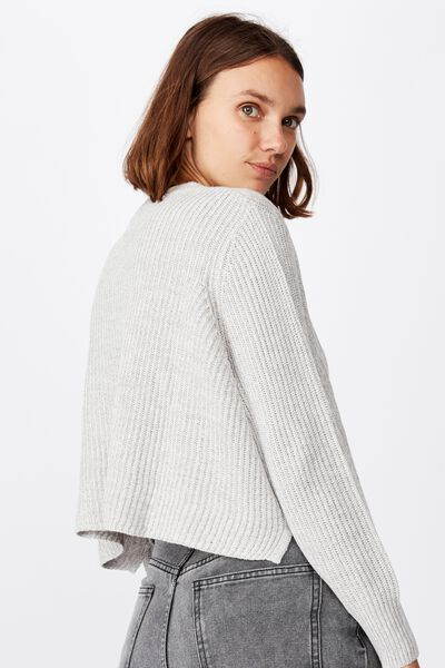 Archy Cropped 2 Pullover, GREY MARLE
