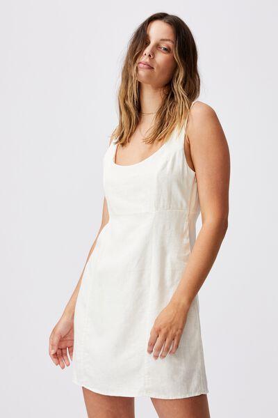 Woven Libby Strappy Mini Dress, CHALK WHITE