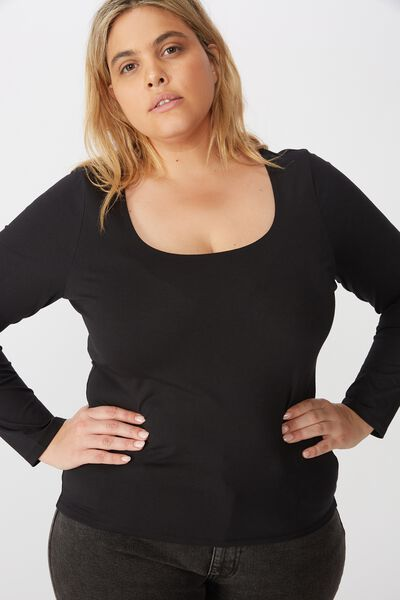 Curve Everyday Long Sleeve Scoop Top, BLACK