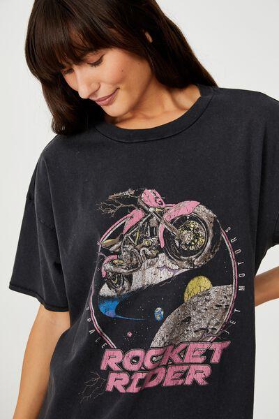 Oversized Graphic T Shirt Dress, ROCKET RIDER/BLACK