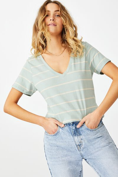 The One Fitted V Tee, ANJA STRIPE SOFT SAGE/ LATTE