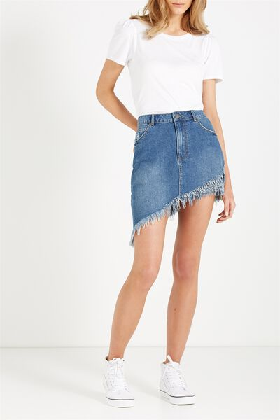 Asymmetric Hem Denim Skirt, MID BLUE