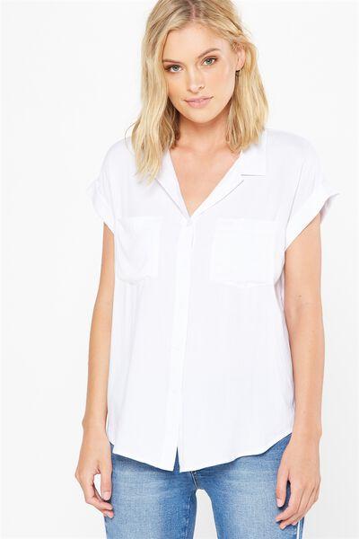 Emily Short Sleeve Shirt, WHITE