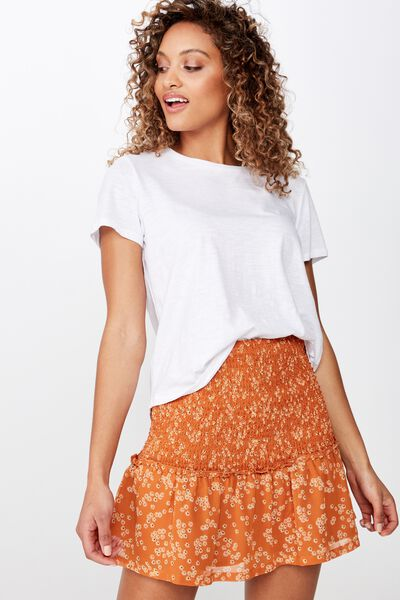 Woven Serena Shirred Waist Mini Skirt, ALICE DITSY RUST TAN
