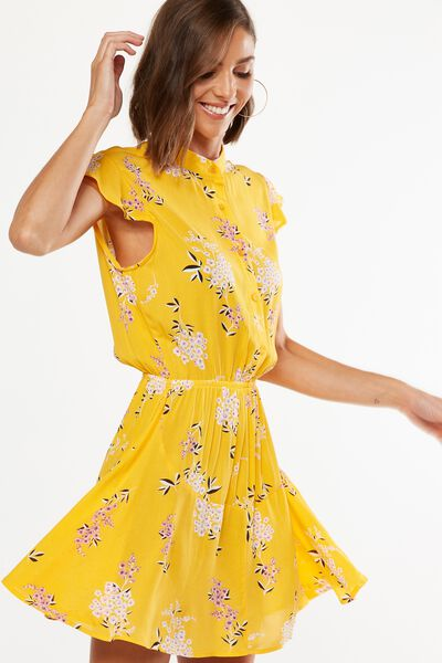 Woven Emily Short Sleeve Dres, STEVIE FLORAL SUNFLOWER