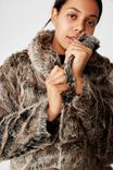 Luxe Fur Coat, BROWN