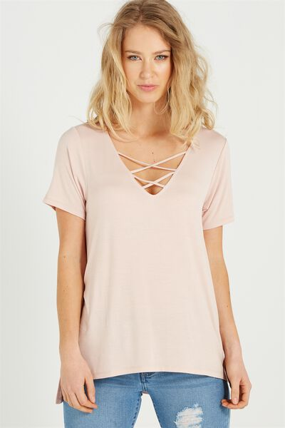 Ameri Short Sleeve Lace Up Tee, NUDE PINK