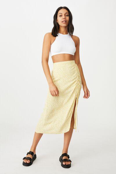 Leah Ruched Side Midi Skirt, ROBYN DITSY LEMON