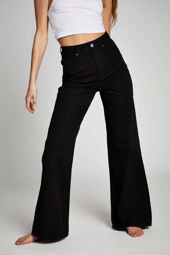 Long Wide Leg Jean, BLACK