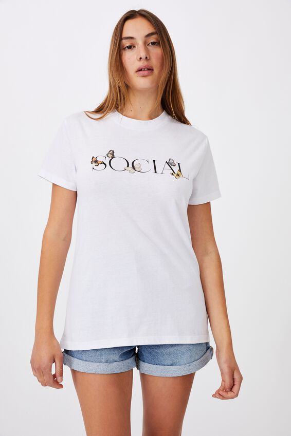 Classic Slogan T Shirt, SOCIAL BUTTERFLY/WHITE