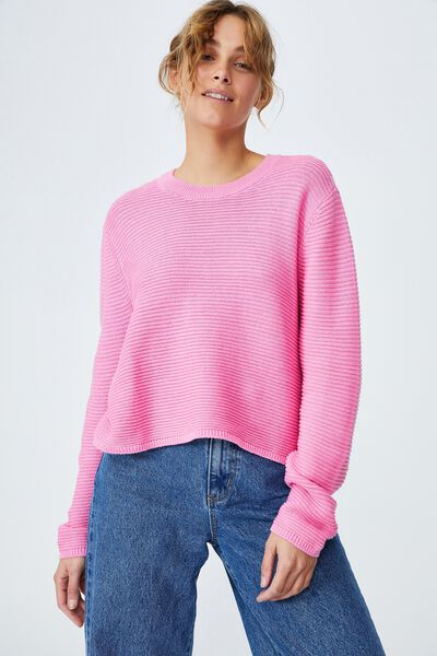 Cotton Cropped Pullover, PINK GLOW CHERRY BLOOM TWIST
