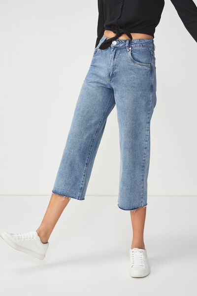 Mid Rise Wide Leg Crop Jean, VINTAGE BLUE