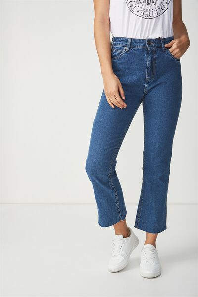 High Rise Kick Flare Crop Stretch Jean, DARK JANE BLUE