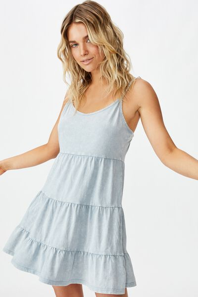 Kat Strappy Tiered Mini Dress, WASHED ASHLEY BLUE
