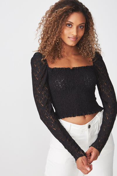 Eden Long Sleeve Lace Top, BLACK