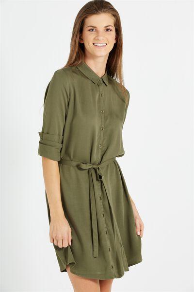 Woven Amie Long Sleeve Shirt Dress, BURNT OLIVE