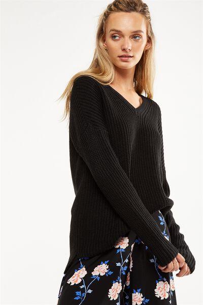 Willa V Neck Pullover, BLACK