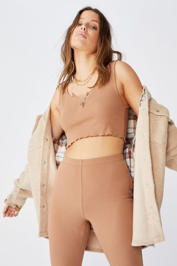Bella Rib Tank, HERITAGE BROWN