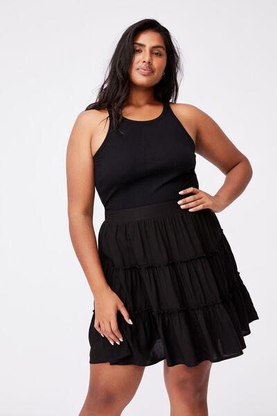 Curve Sky Skater Mini Skirt, BLACK